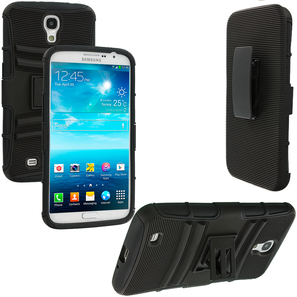 Samsung Galaxy Mega 6.3 Black Hybrid Heavy Duty Rugged Case Cover with Belt Clip Holster