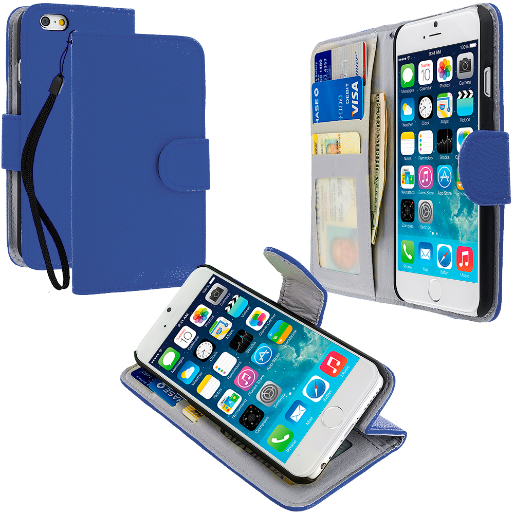 Apple iPhone 6 Plus 6S Plus (5.5) Blue Leather Wallet Pouch Case Cover with Slots
