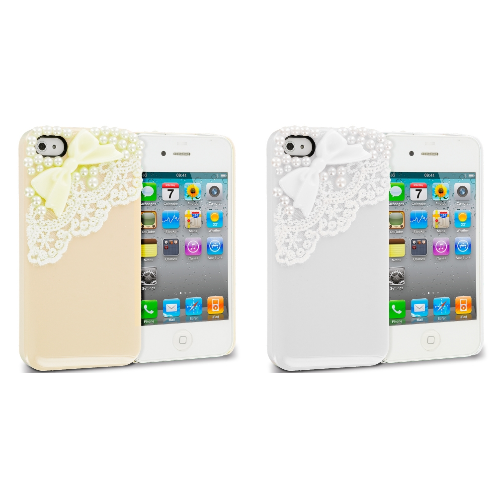 Apple iPhone 4 / 4S 2 in 1 Combo Bundle Pack - Golden Silver Pearls Crystal Hard Back Cover Case