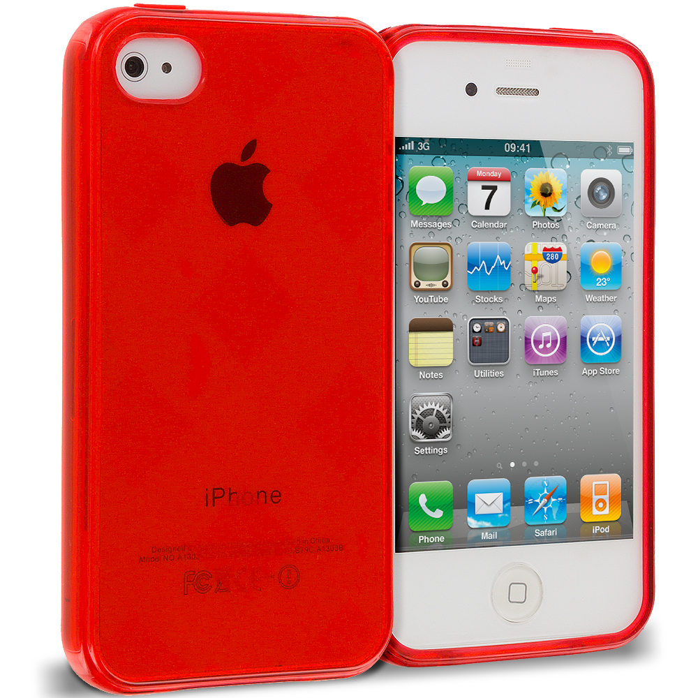 Apple iPhone 4 / 4S 2 in 1 Combo Bundle Pack - Red White Diamond TPU Rubber Skin Case Cover : Color Red Diamond