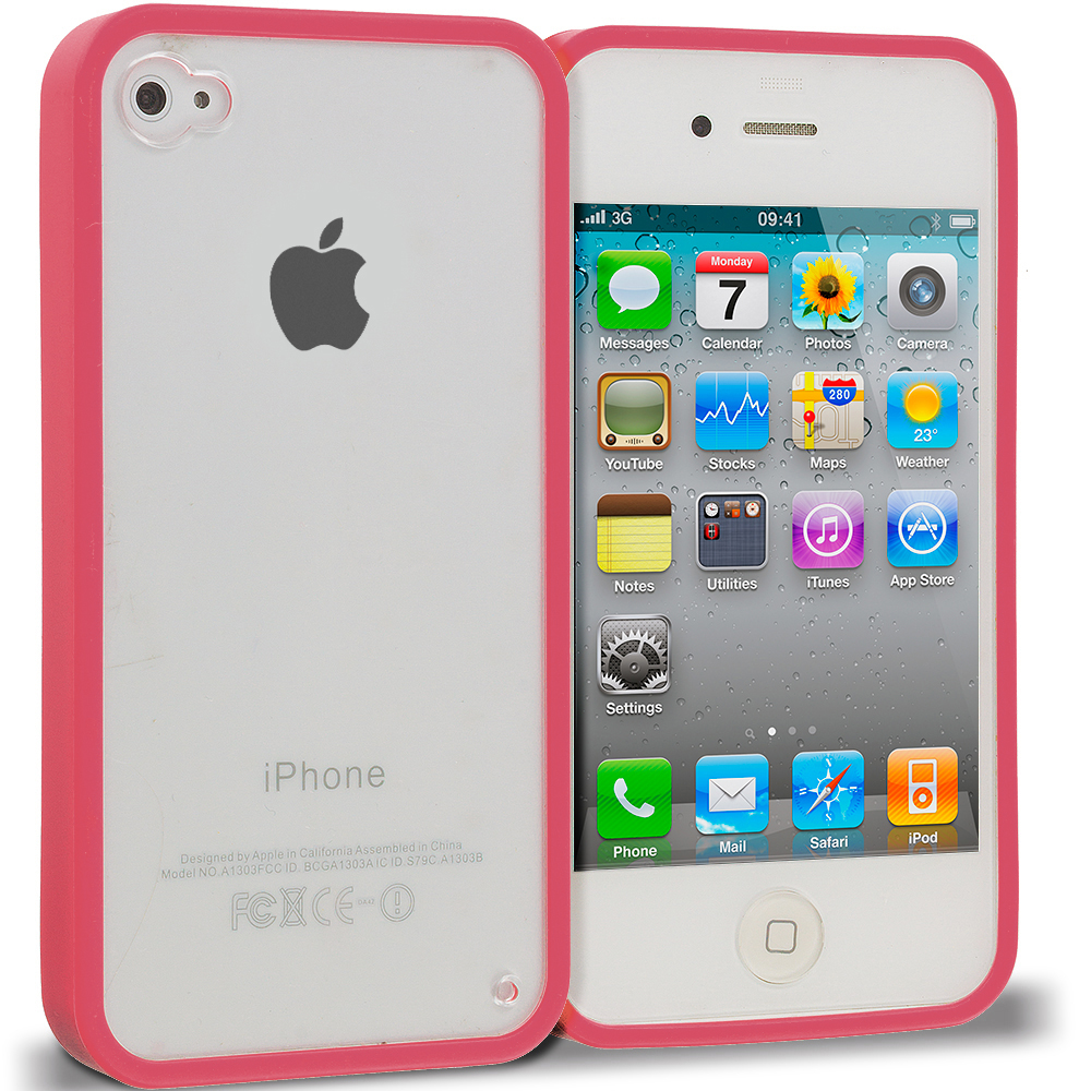 Apple iPhone 4 / 4S Watermelon Red TPU Plastic Hybrid Case Cover