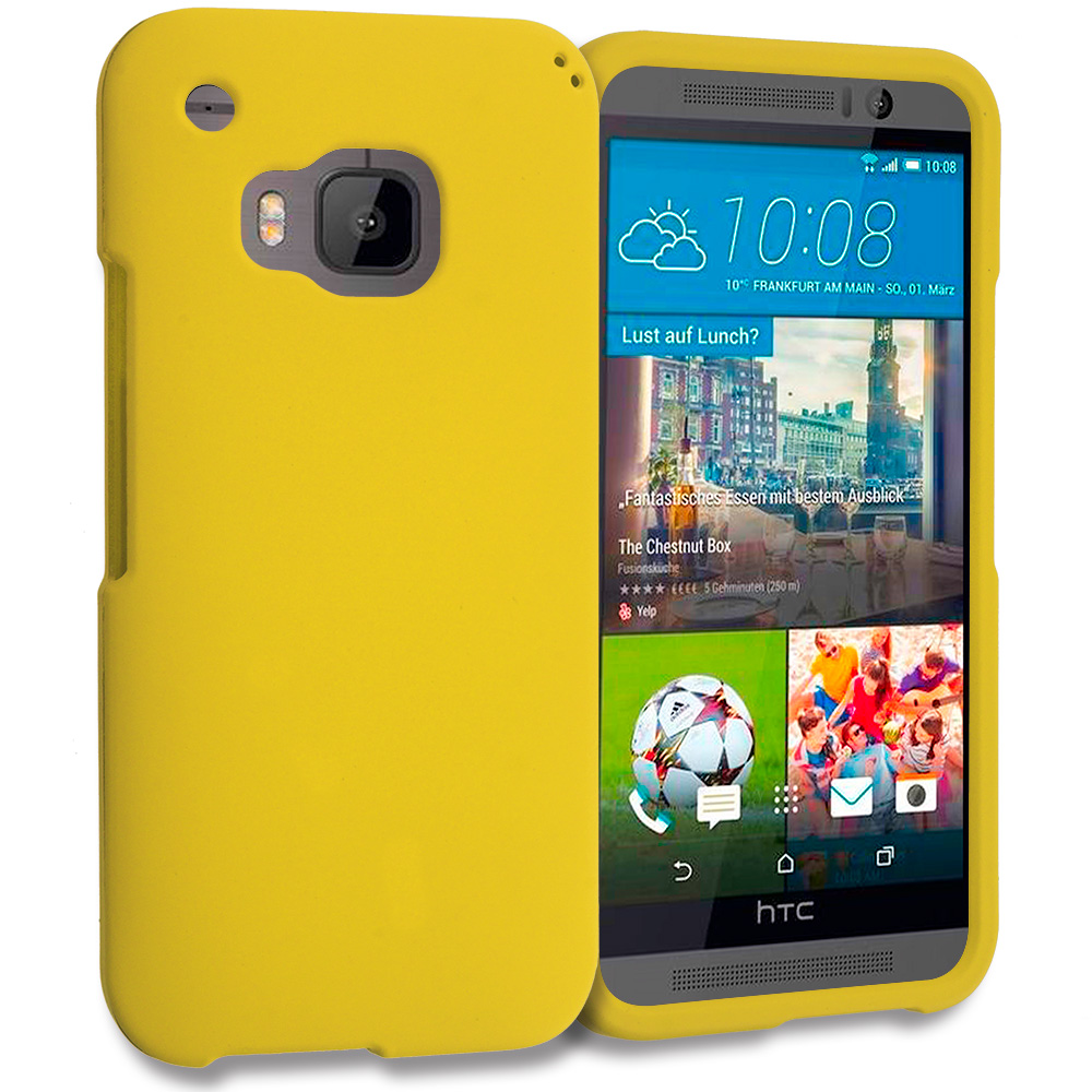 HTC One M9 Yellow Hard Rubberized Case Cover