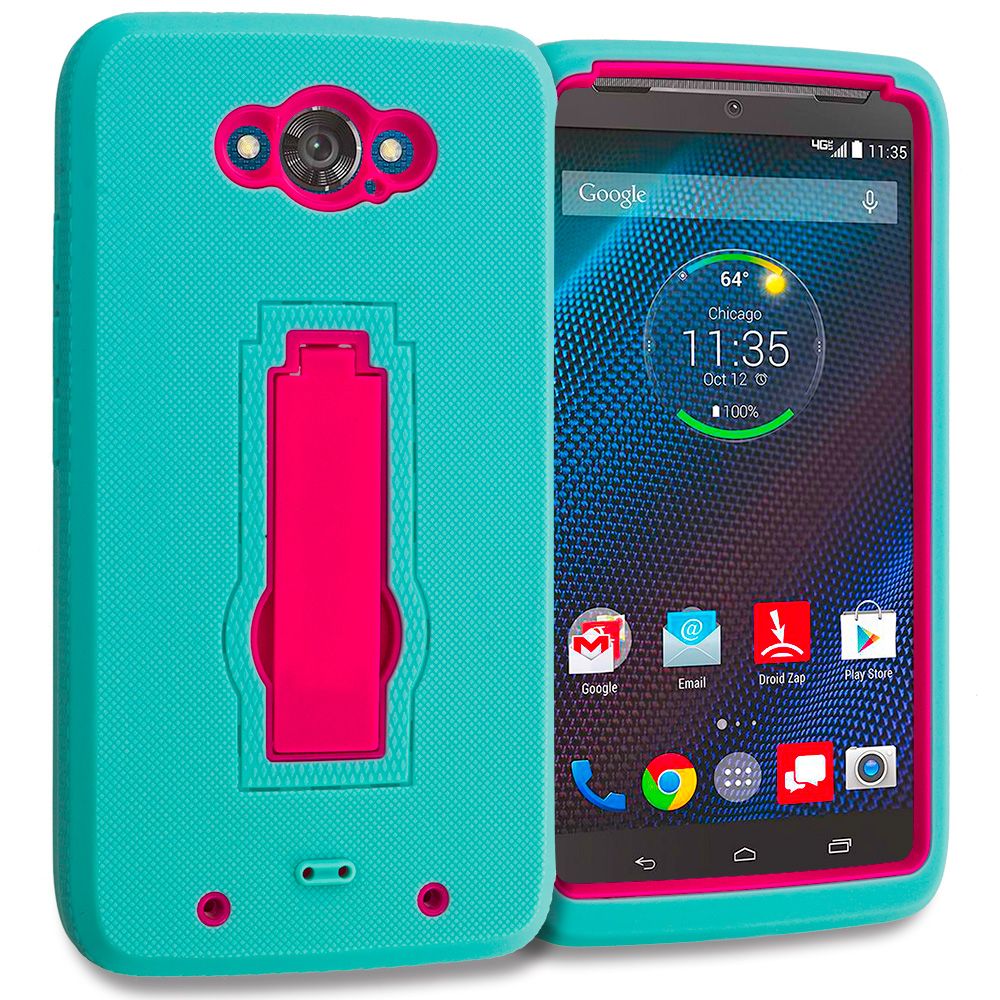 Motorola Droid Turbo Teal / Hot Pink Hybrid Heavy Duty Hard Soft Case Cover with Kickstand