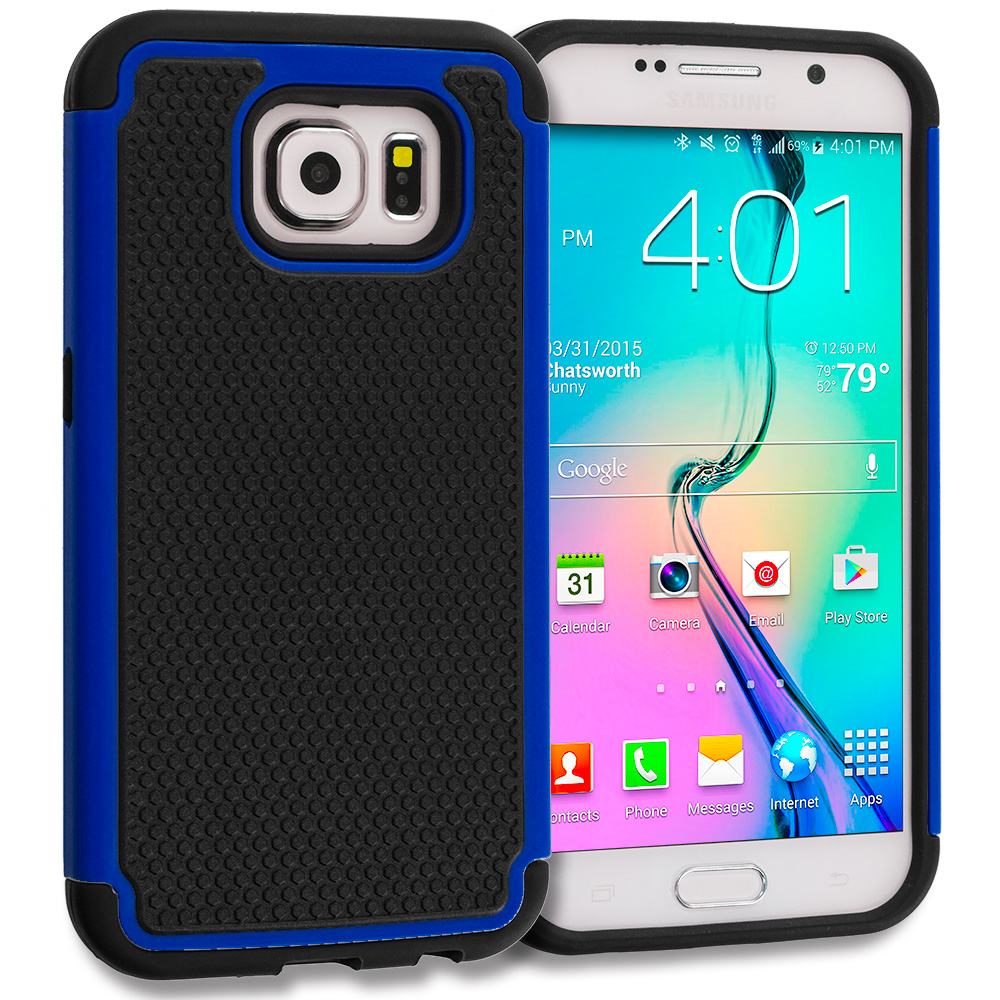 Samsung Galaxy S6 Combo Pack : Black / Black Hybrid Rugged Grip Shockproof Case Cover : Color Black / Blue