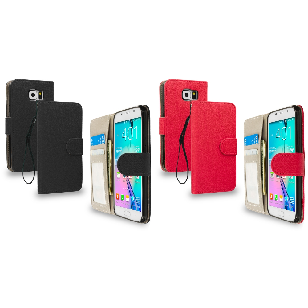 Samsung Galaxy S6 2 in 1 Combo Bundle Pack - Leather Wallet Pouch Case Cover with Slots