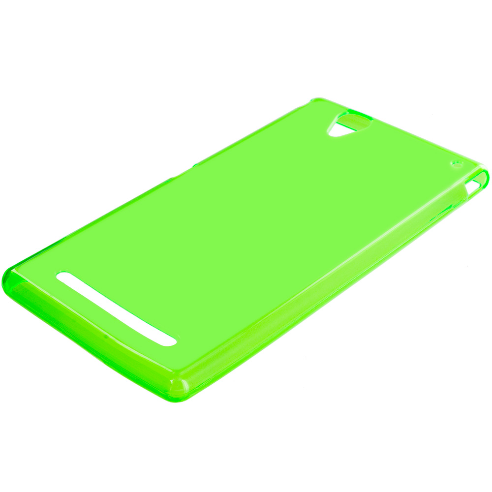 Sony Xperia T2 Ultra D5303 Neon Green TPU Rubber Skin Case Cover