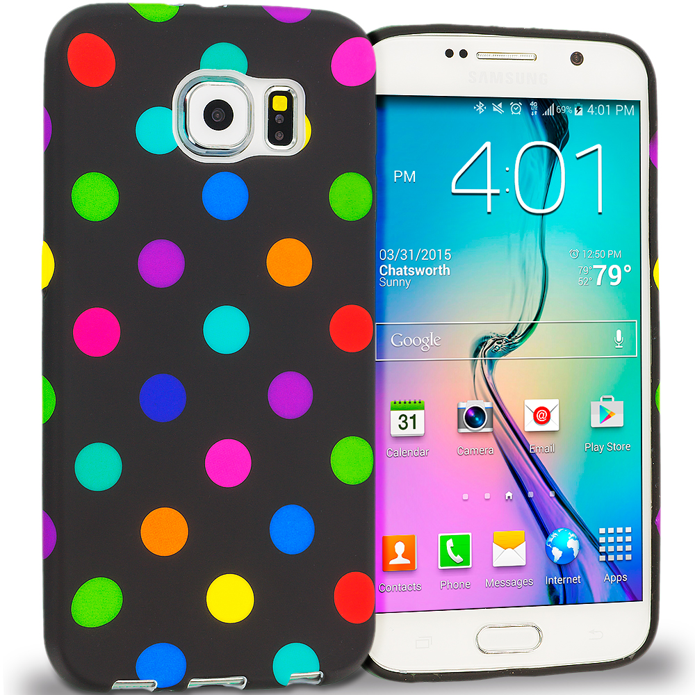 Samsung Galaxy S6 Black / Colorful Polka Dot TPU Design Soft Rubber Case Cover