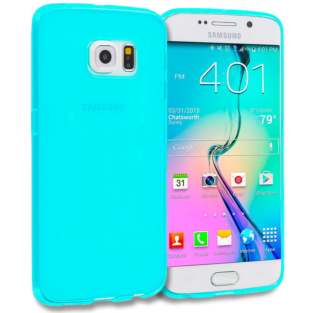 Samsung Galaxy S6 Edge 3 in 1 Combo Bundle Pack - Plain TPU Rubber Skin Case Cover : Color Baby Blue Plain