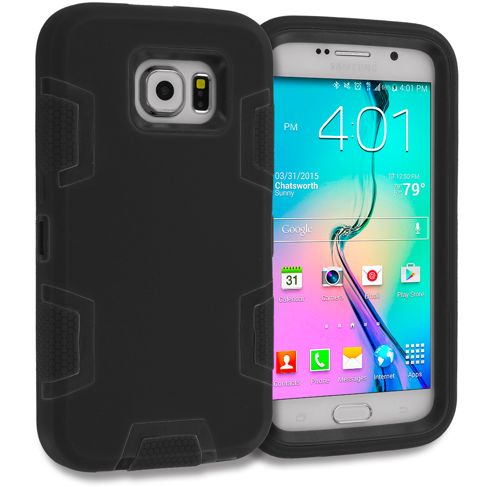 Samsung Galaxy S6 Black / Black Hybrid Defender Heavy Duty Shockproof Armor Hard Soft Case Cover
