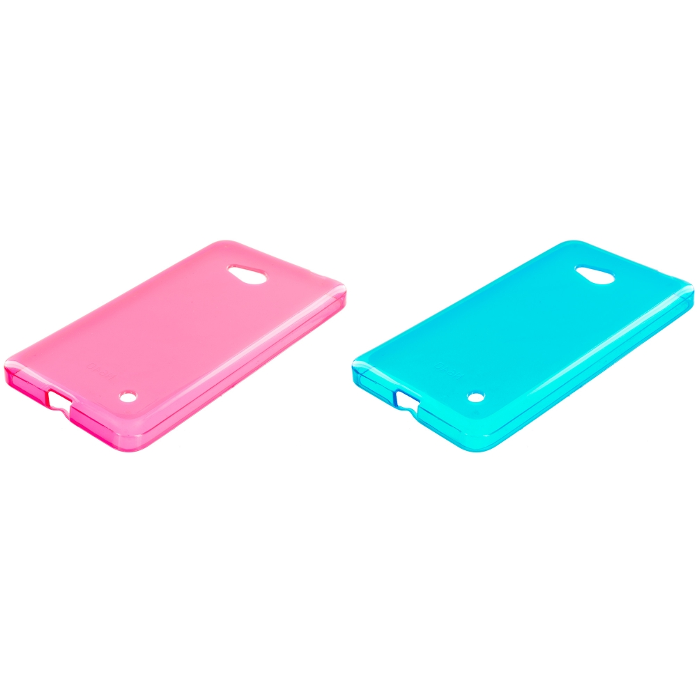Microsoft Lumia 640 2 in 1 Combo Bundle Pack - Hot Pink Baby Blue TPU Rubber Skin Case Cover