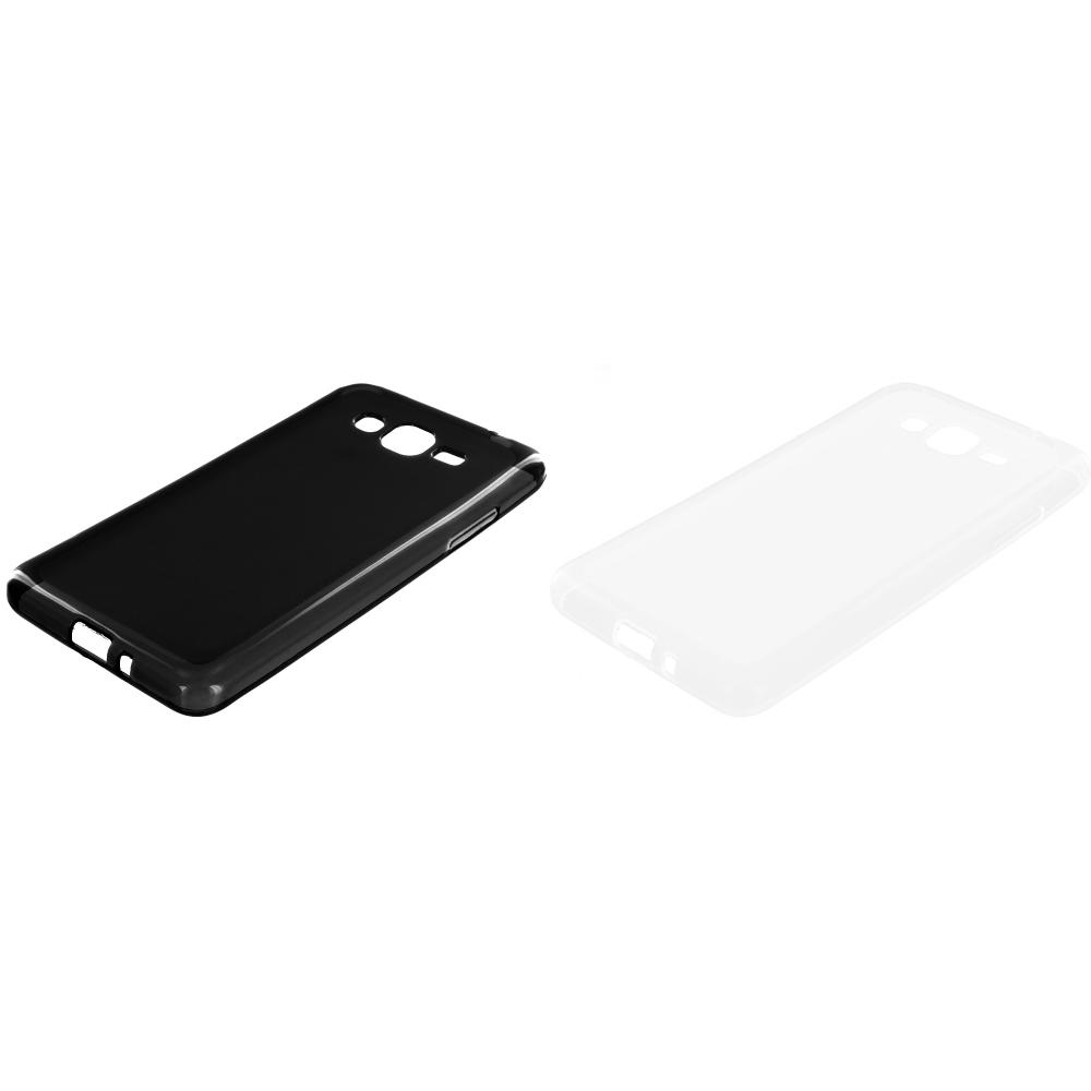Samsung Galaxy Grand Prime LTE G530 2 in 1 Combo Bundle Pack - Black Clear TPU Rubber Skin Case Cover
