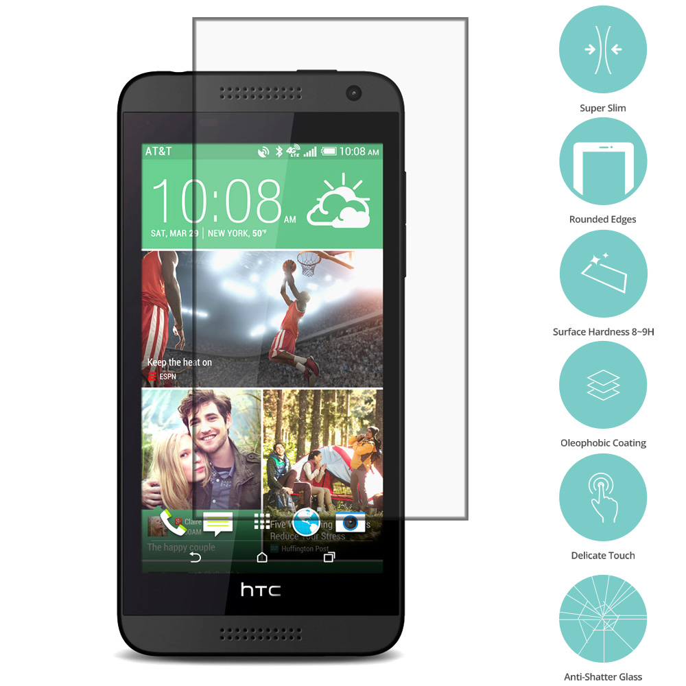 HTC Desire 610 Clear Tempered Glass Film Screen Protector Clear
