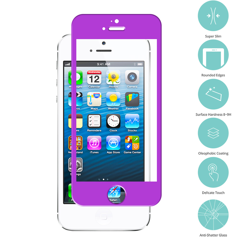 Apple iPhone 5 / 5S / 5C Purple Tempered Glass Film Screen Protector Colored