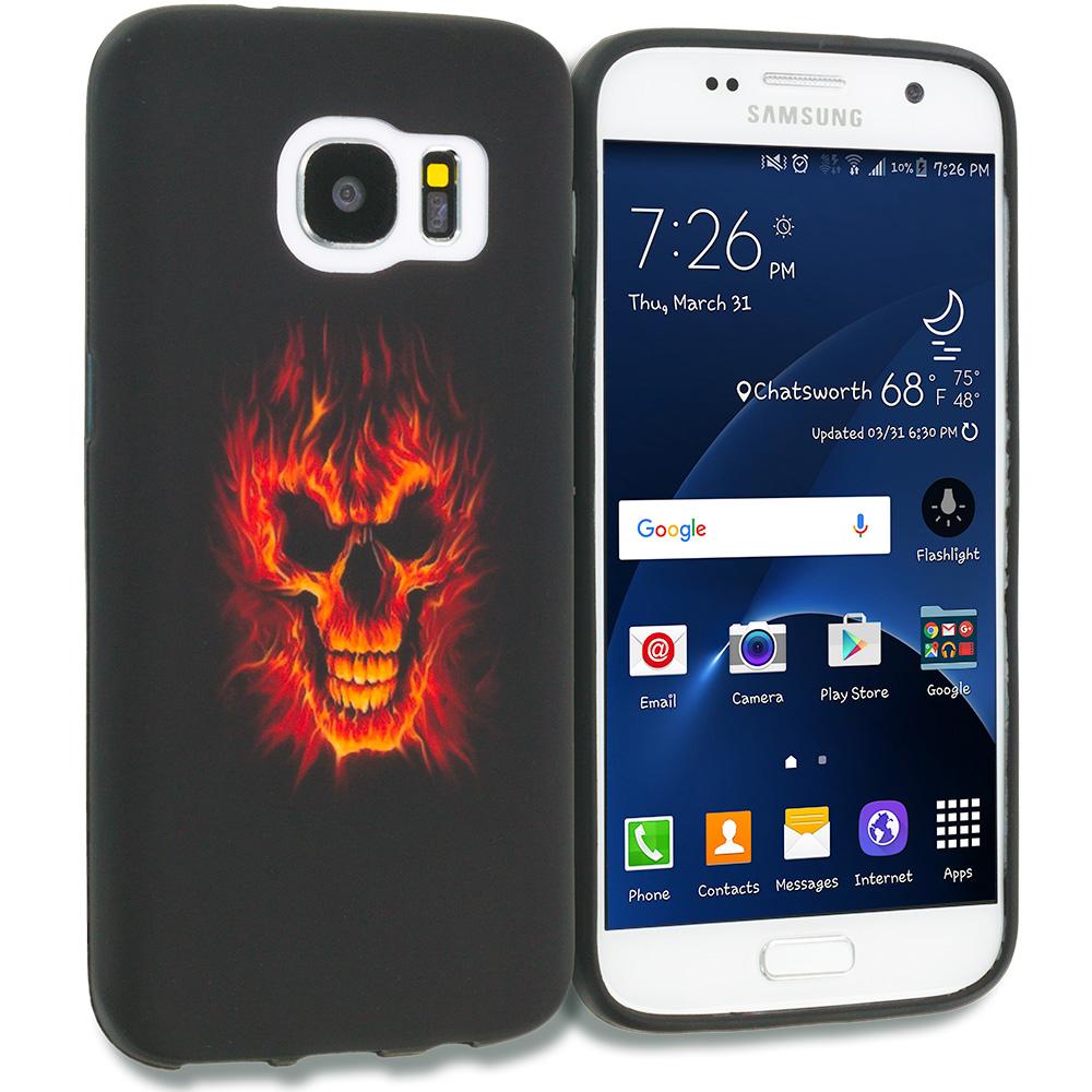Samsung Galaxy S7 Combo Pack : Black White Skulls TPU Design Soft Rubber Case Cover : Color Fire Skull