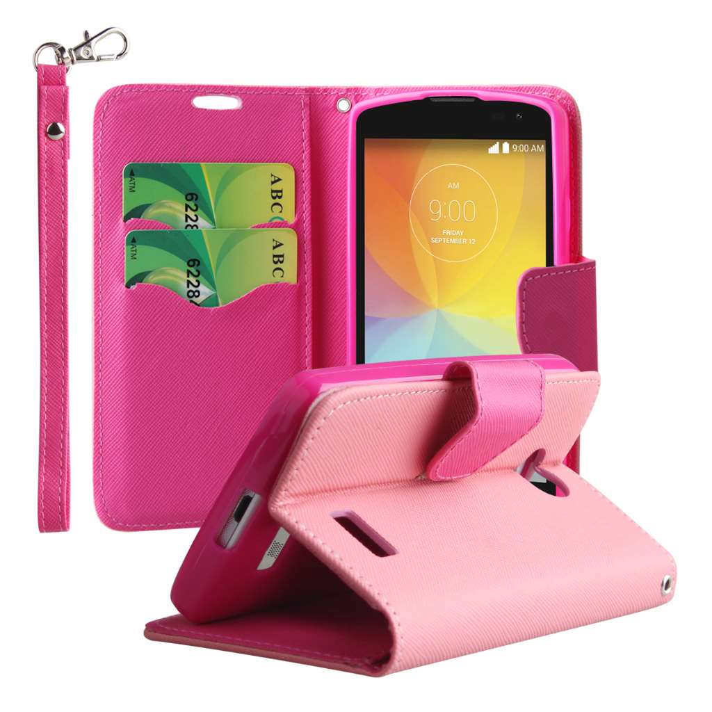 LG F60 - Pink MPERO FLEX FLIP 2 Wallet Stand Case Cover