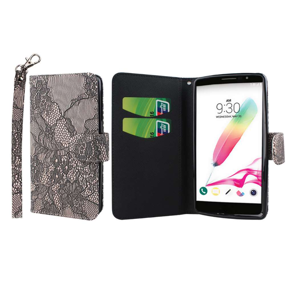 LG G Stylo - Black Lace MPERO FLEX FLIP Wallet Case Cover