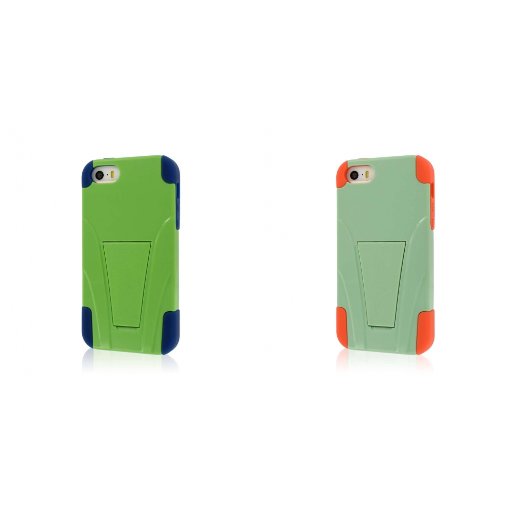 Apple iPhone 5/5S/SE - Blue/ Green Combo Pack : MPERO IMPACT X - Kickstand Case Cover