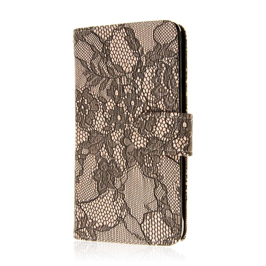 Samsung Galaxy Note 4 - Black Lace MPERO FLEX FLIP Wallet Case Cover