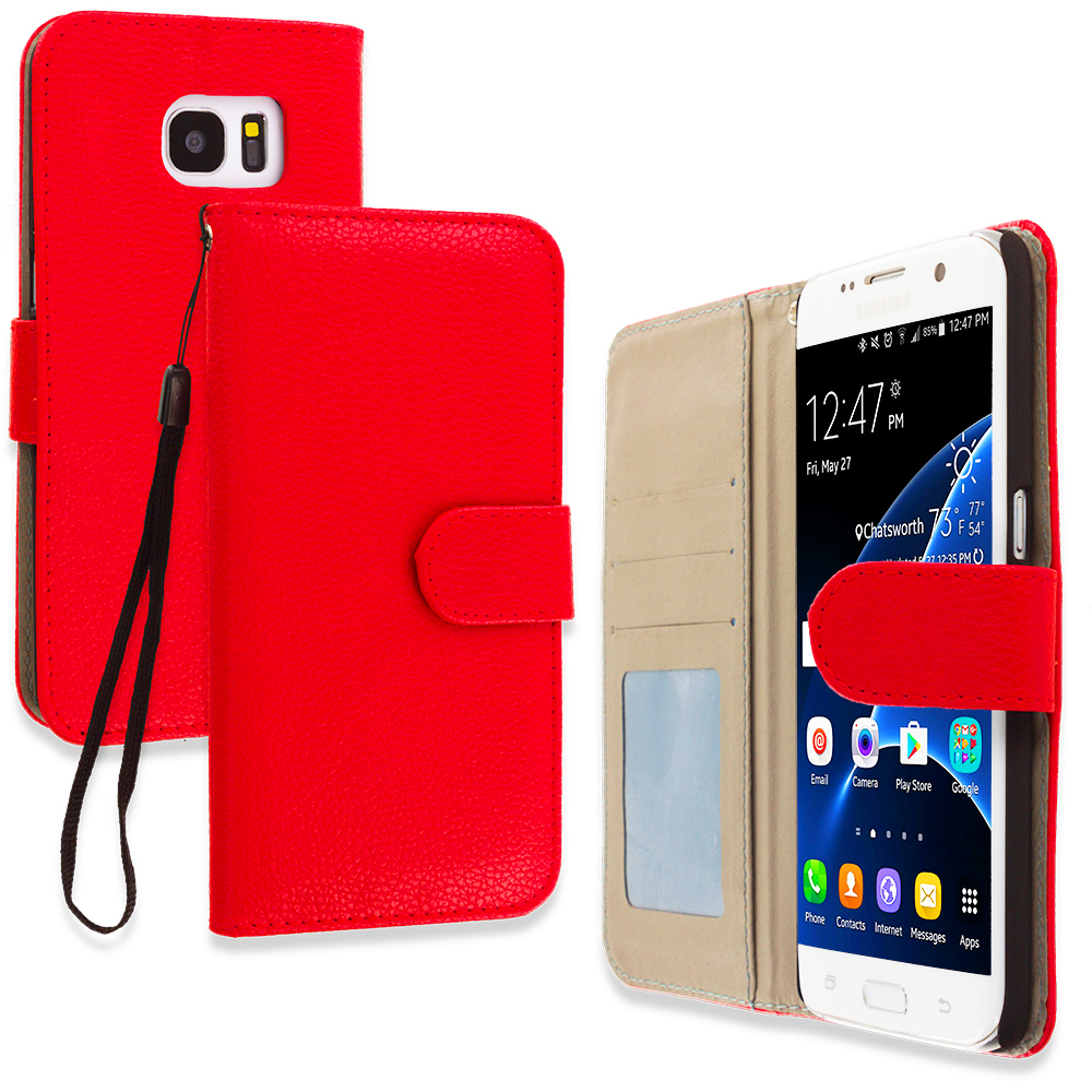 Samsung Galaxy S7 Edge Red Leather Wallet Pouch Case Cover with Slots