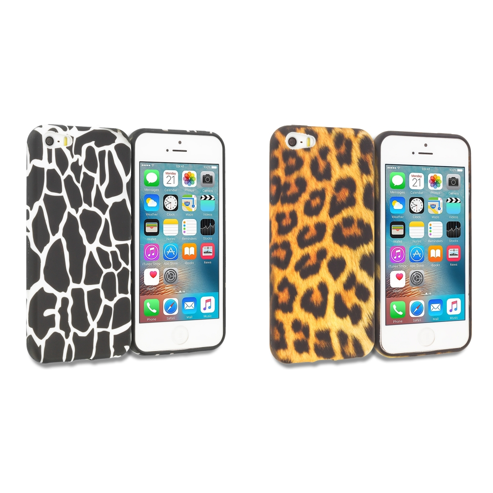 Apple iPhone 5/5S/SE Combo Pack : Black Giraffe TPU Design Soft Rubber Case Cover