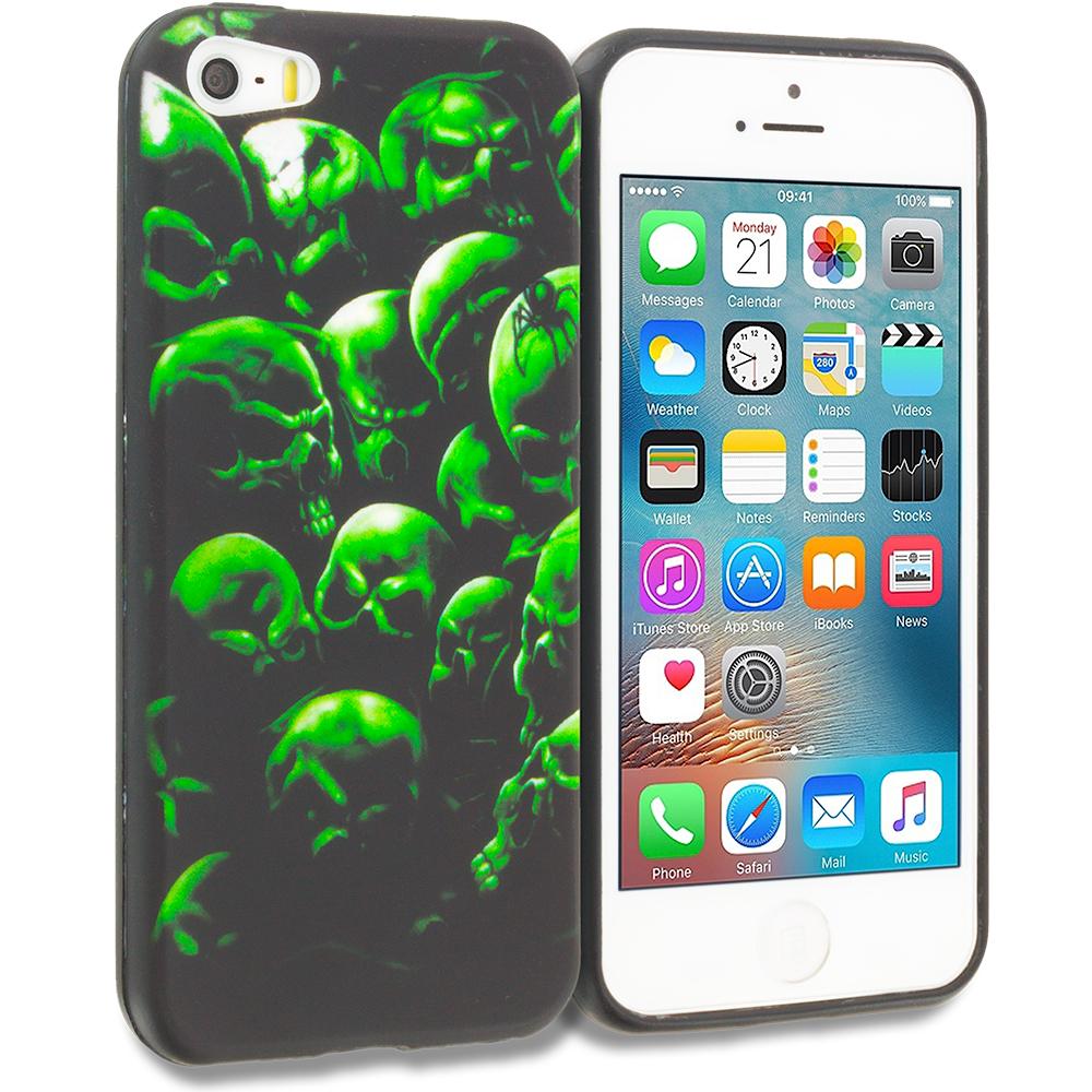 Apple iPhone 5/5S/SE Green Skulls TPU Design Soft Rubber Case Cover