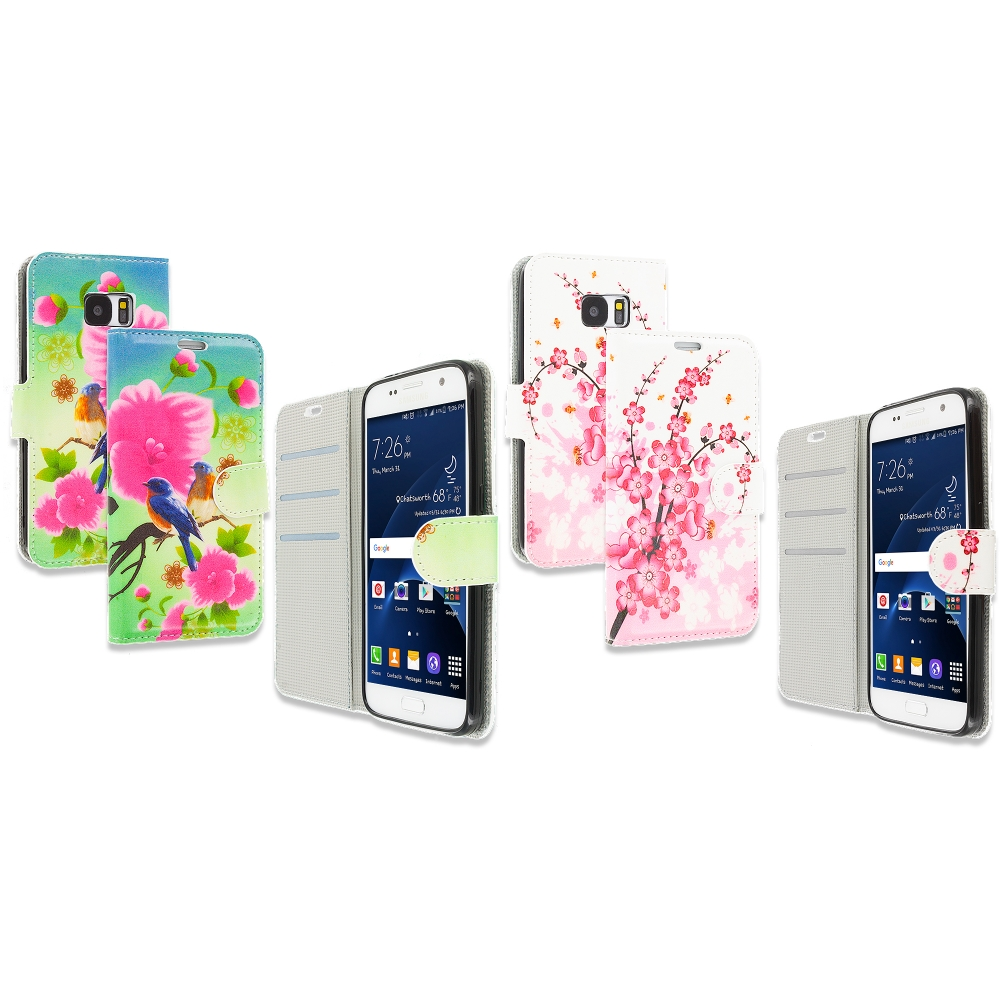 Samsung Galaxy S7 Combo Pack : Blue Bird Pink Flower Design Wallet Flip Pouch Case Cover with Credit Card ID Slots
