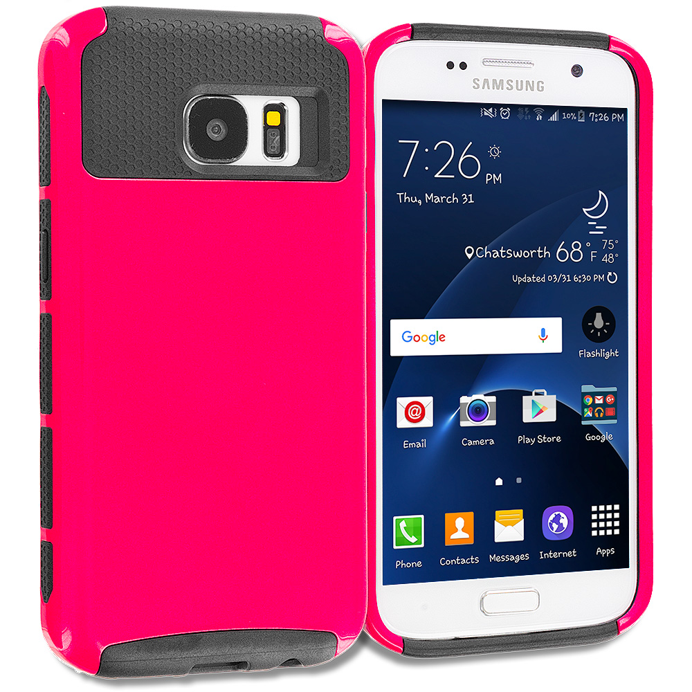 Samsung Galaxy S7 Combo Pack : Purple / Black Hybrid Hard TPU Honeycomb Rugged Case Cover : Color Hot Pink / Black
