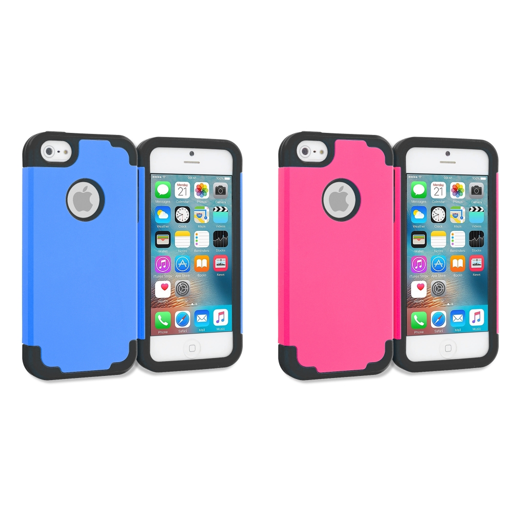 Apple iPhone 5/5S/SE Combo Pack : Blue / Black Hybrid Slim Hard Soft Rubber Impact Protector Case Cover
