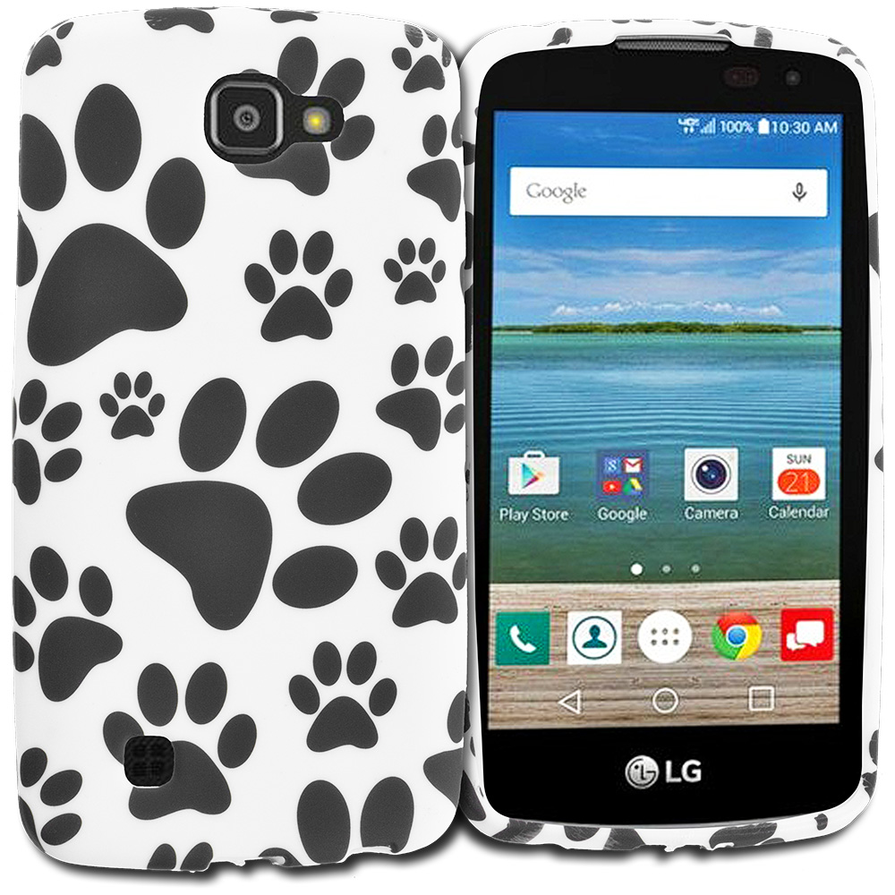 LG Spree Optimus Zone 3 VS425 K4 Dog Paw TPU Design Soft Rubber Case Cover
