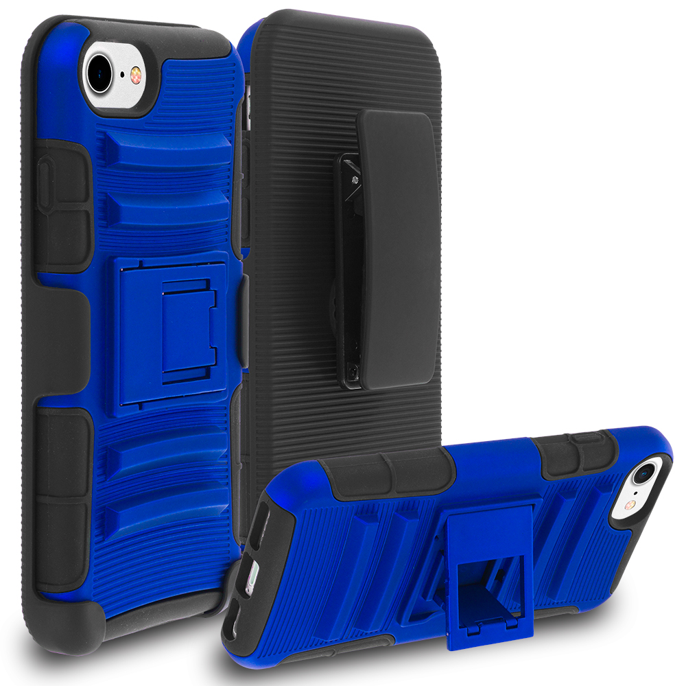 Apple iPhone 7 Blue Hybrid Heavy Duty Rugged Case Cover with Belt Clip Holster