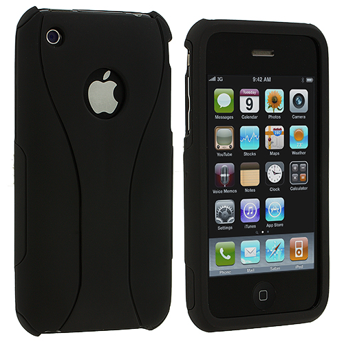 Apple iPhone 3G / 3GS Black Hard Rubberized 3-Piece Case Cover