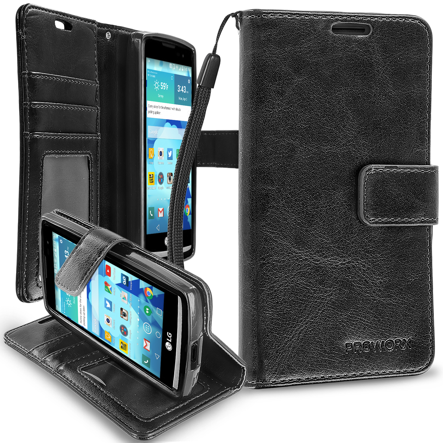 LG Tribute 2 Leon Power Destiny Black ProWorx Wallet Case Luxury PU Leather Case Cover With Card Slots & Stand