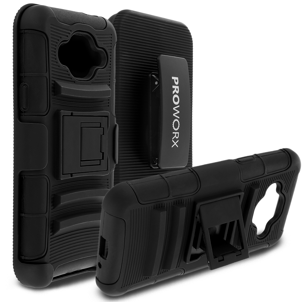 Samsung Galaxy J3 Black ProWorx Heavy Duty Shock Absorption Armor Defender Case Cover With Belt Clip Holster