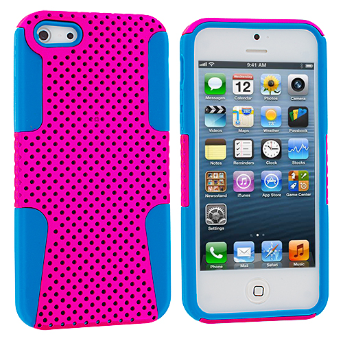 Apple iPhone 5/5S/SE Baby Blue / Hot Pink Hybrid Mesh Hard/Soft Case Cover