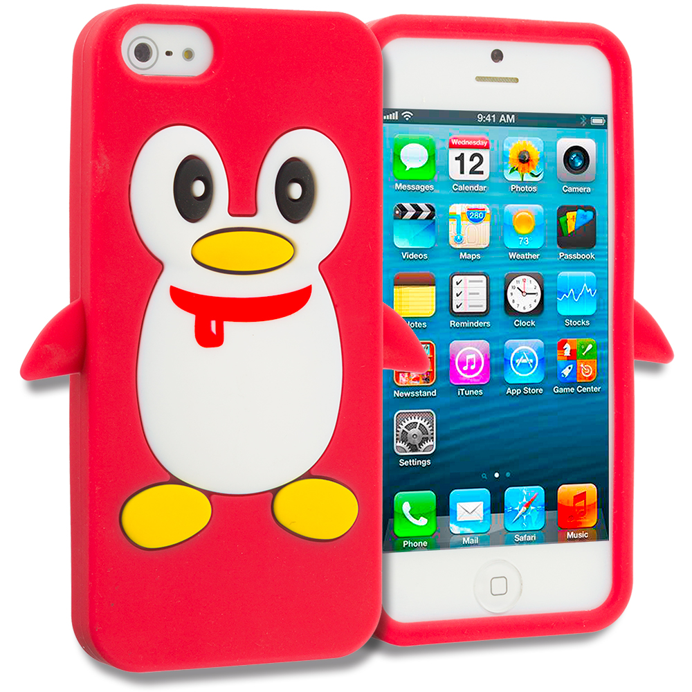 Apple iPhone 5/5S/SE Combo Pack : Orange Penguin Silicone Design Soft Skin Case Cover : Color Red Penguin