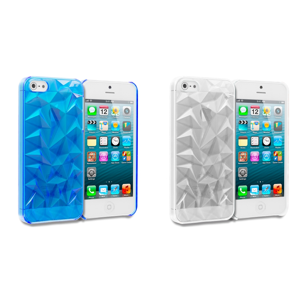 Apple iPhone 5/5S/SE Combo Pack : Blue Diamond Crystal Hard Back Cover Case
