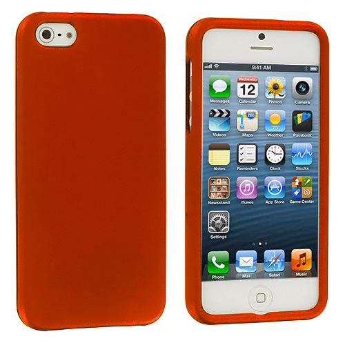 Apple iPhone 5/5S/SE Combo Pack : Neon Green Hard Rubberized Case Cover : Color Orange