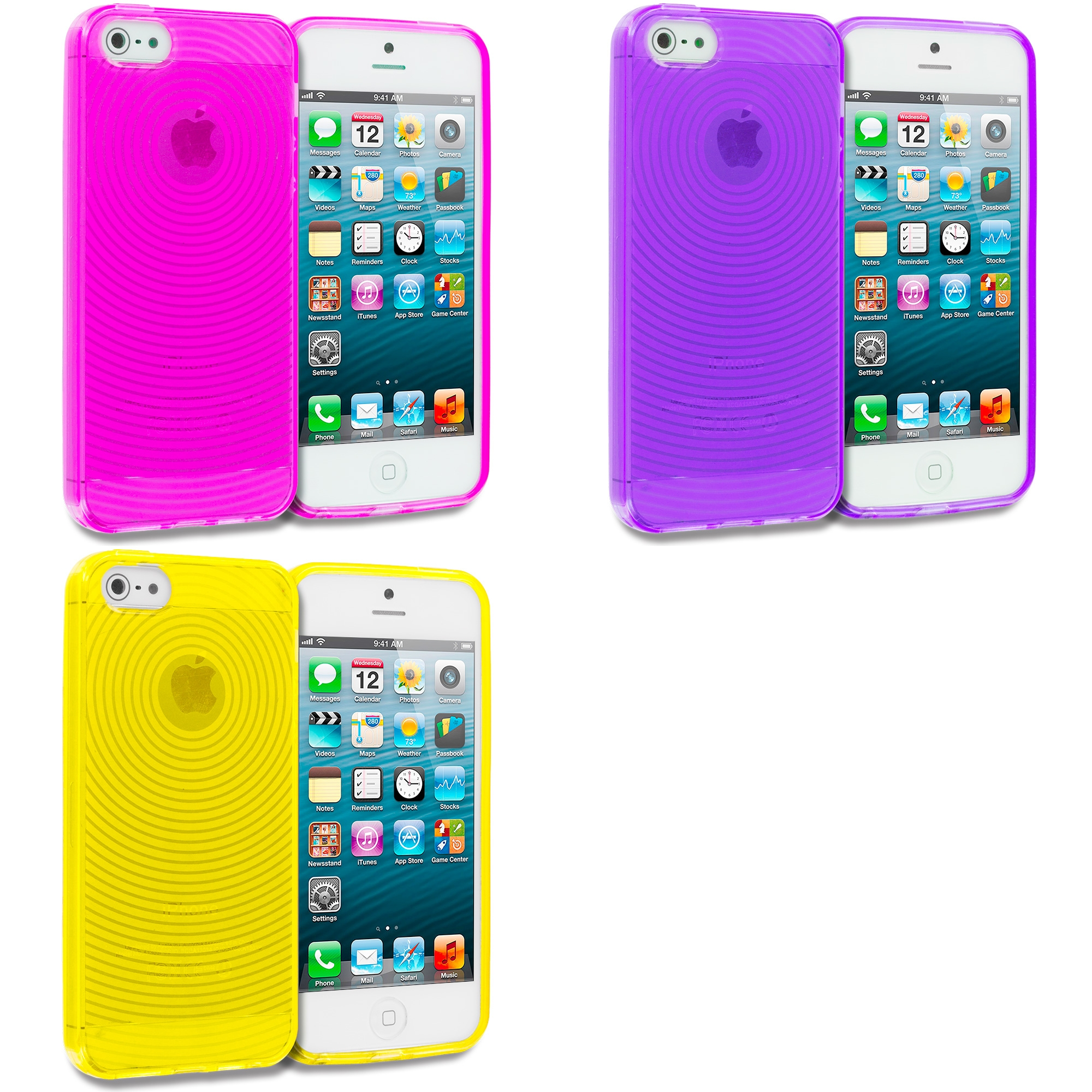 Apple iPhone 5/5S/SE Combo Pack : Hot Pink Fingerprint TPU Rubber Skin Case Cover