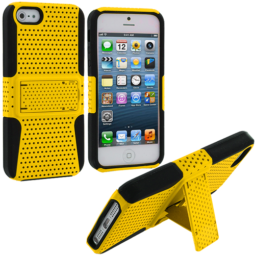 Apple iPhone 5 Black / Yellow Hybrid Mesh Hard/Soft Case Cover with Stand