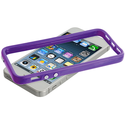 Apple iPhone 5/5S/SE Combo Pack : Solid Hot Pink TPU Bumper with Metal Buttons : Color Solid Purple