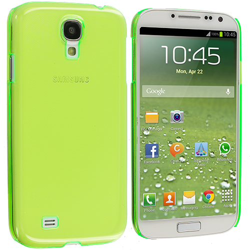 Samsung Galaxy S4 2 in 1 Combo Bundle Pack - Clear Crystal Hard Back Cover Case : Color Neon Green