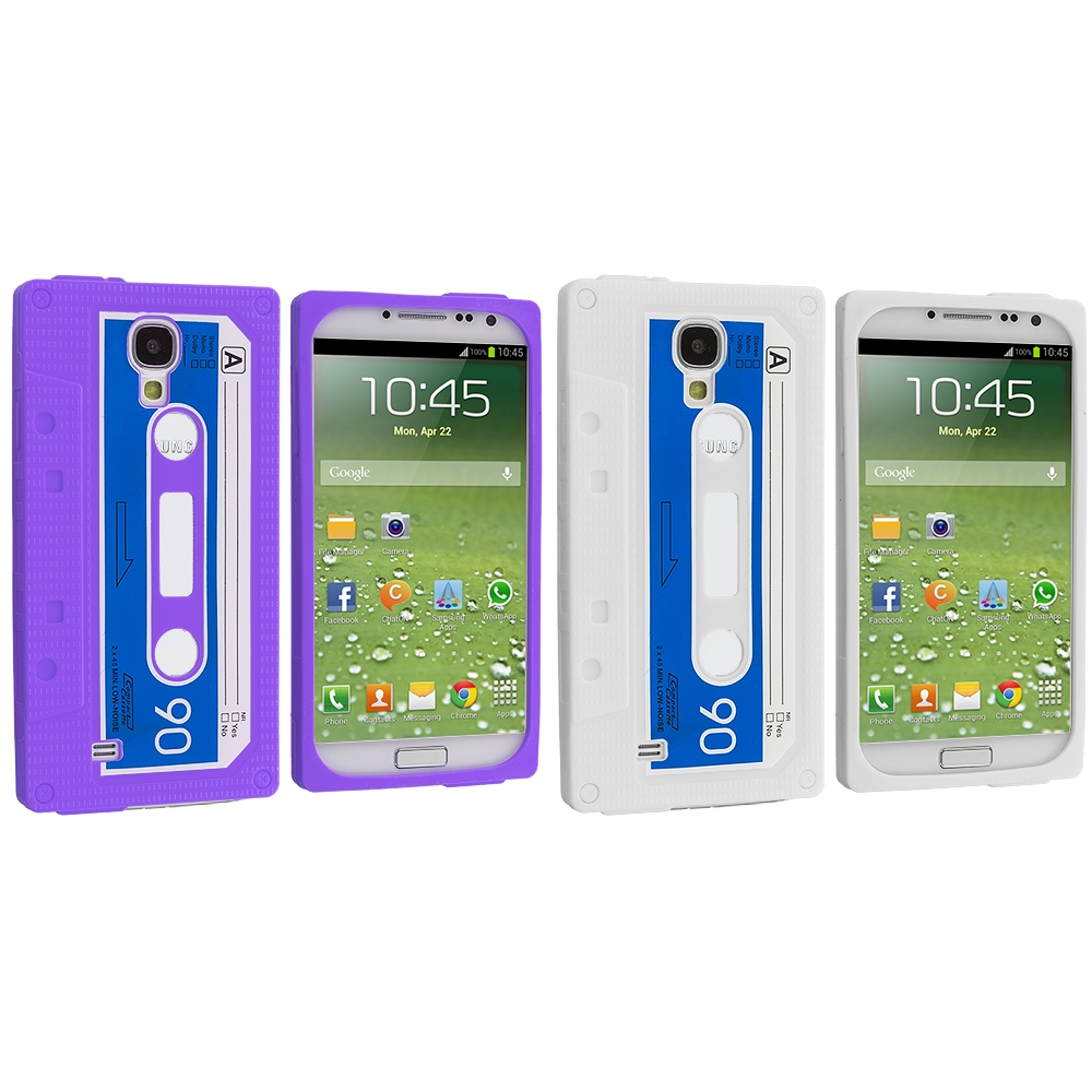 Samsung Galaxy S4 2 in 1 Combo Bundle Pack - White Purple Cassette Silicone Soft Skin Case Cover