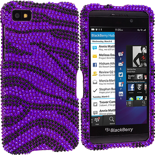 BlackBerry Z10 Black / Purple Zebra Bling Rhinestone Case Cover