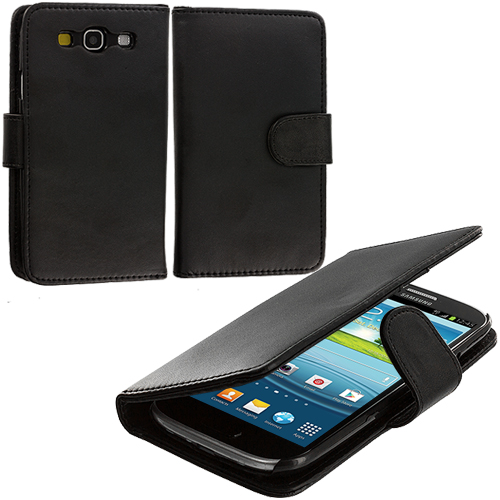 Samsung Galaxy S3 Black Smooth Leather Wallet Pouch Case Cover with Slots