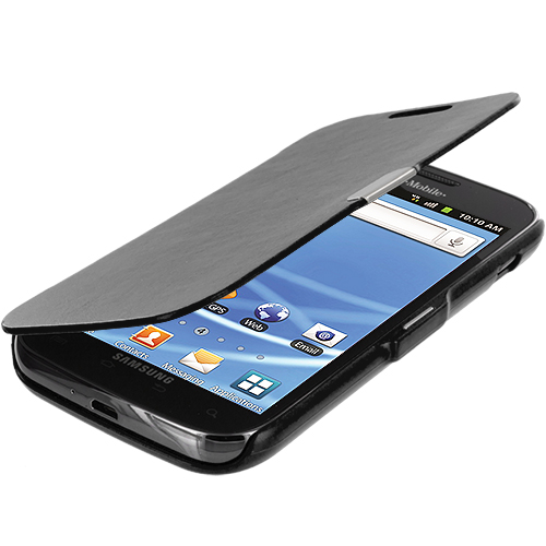 Samsung Hercules T989 T-Mobile Galaxy S2 Black Texture Magnetic Wallet Case Cover Pouch
