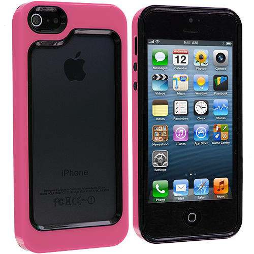 Apple iPhone 5/5S/SE 2 in 1 Combo Bundle Pack - Pink Baby Blue Hybrid TPU Bumper Case Cover : Color Black / Hot Pink