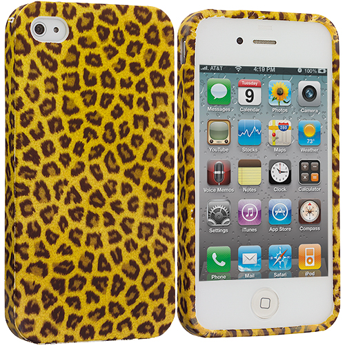 Apple iPhone 4 / 4S Yellow Leopard TPU Design Soft Case Cover