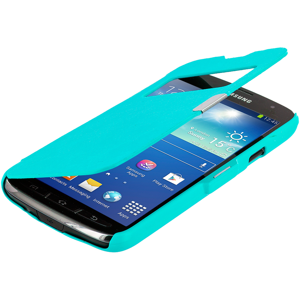 Samsung Galaxy S4 Active i537 Baby Blue (Open) Magnetic Wallet Case Cover Pouch