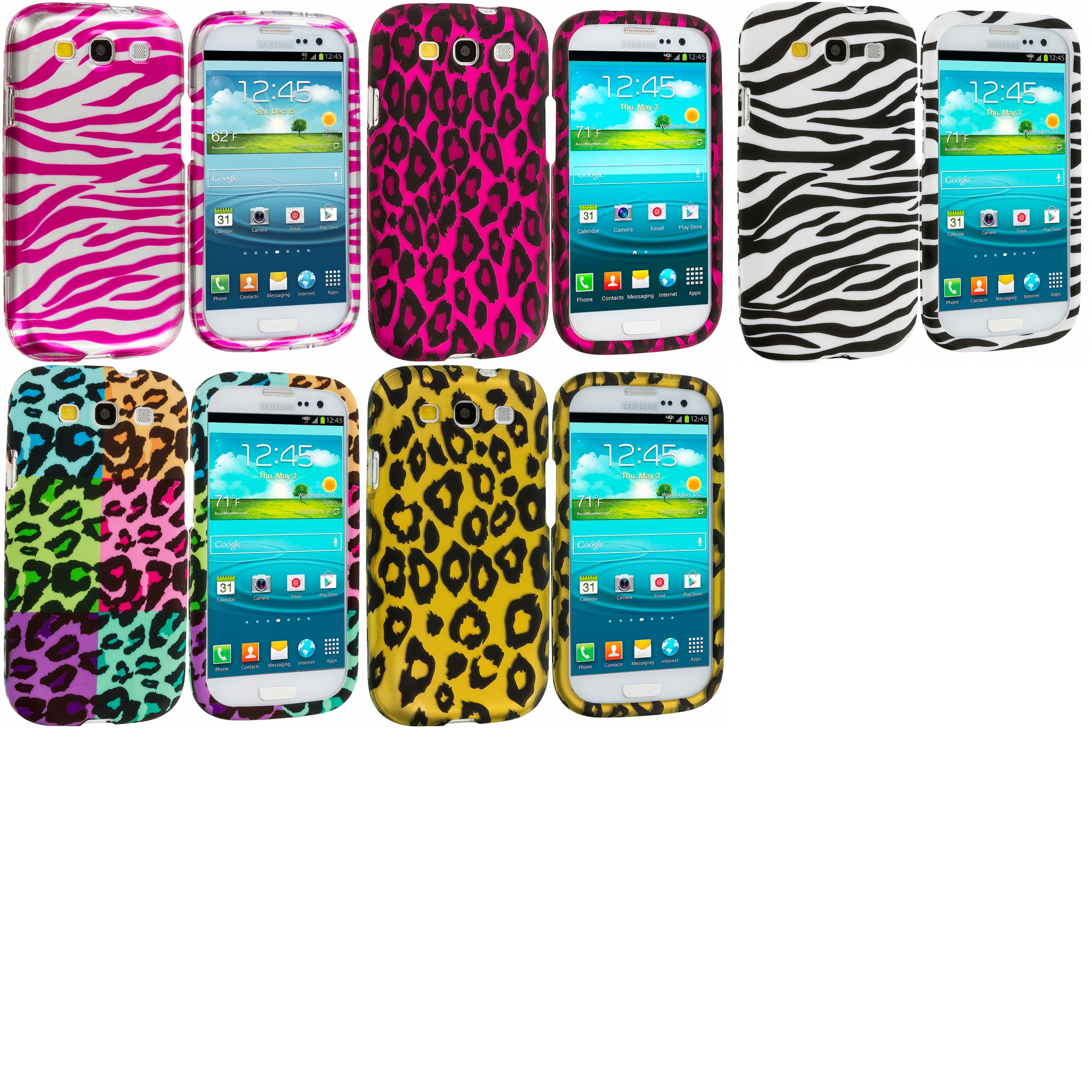 Samsung Galaxy S3 5 in 1 Combo Bundle Pack - Leopard Zebra Hard Rubberized Design Case Cover