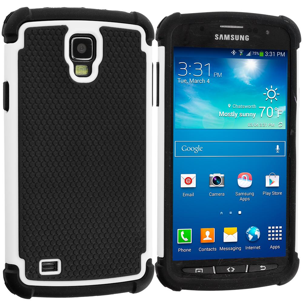 Samsung Galaxy S4 Active i537 Black / White Hybrid Rugged Hard/Soft Case Cover